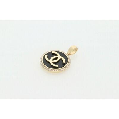 14 Karat Gold & Cz Fancy Black CC Charm W: 6.6 ~