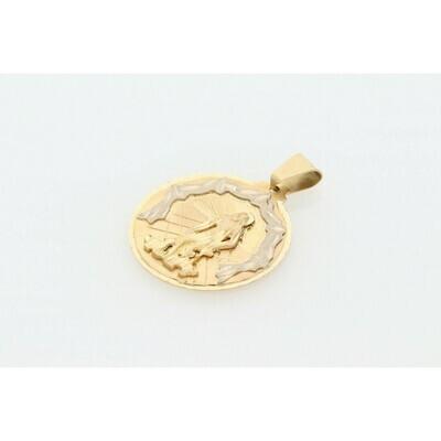 10 Karat Gold Two Tone St Lazaro medal