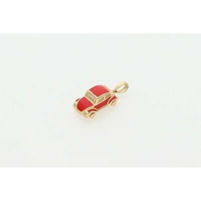 14 Karat Gold Red Car Charm W: 3.5 ~