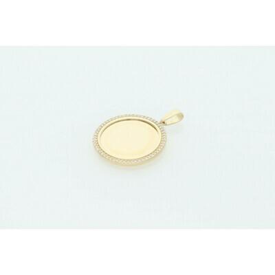 14 Karat Gold & Zirconium Circle Photo Charm