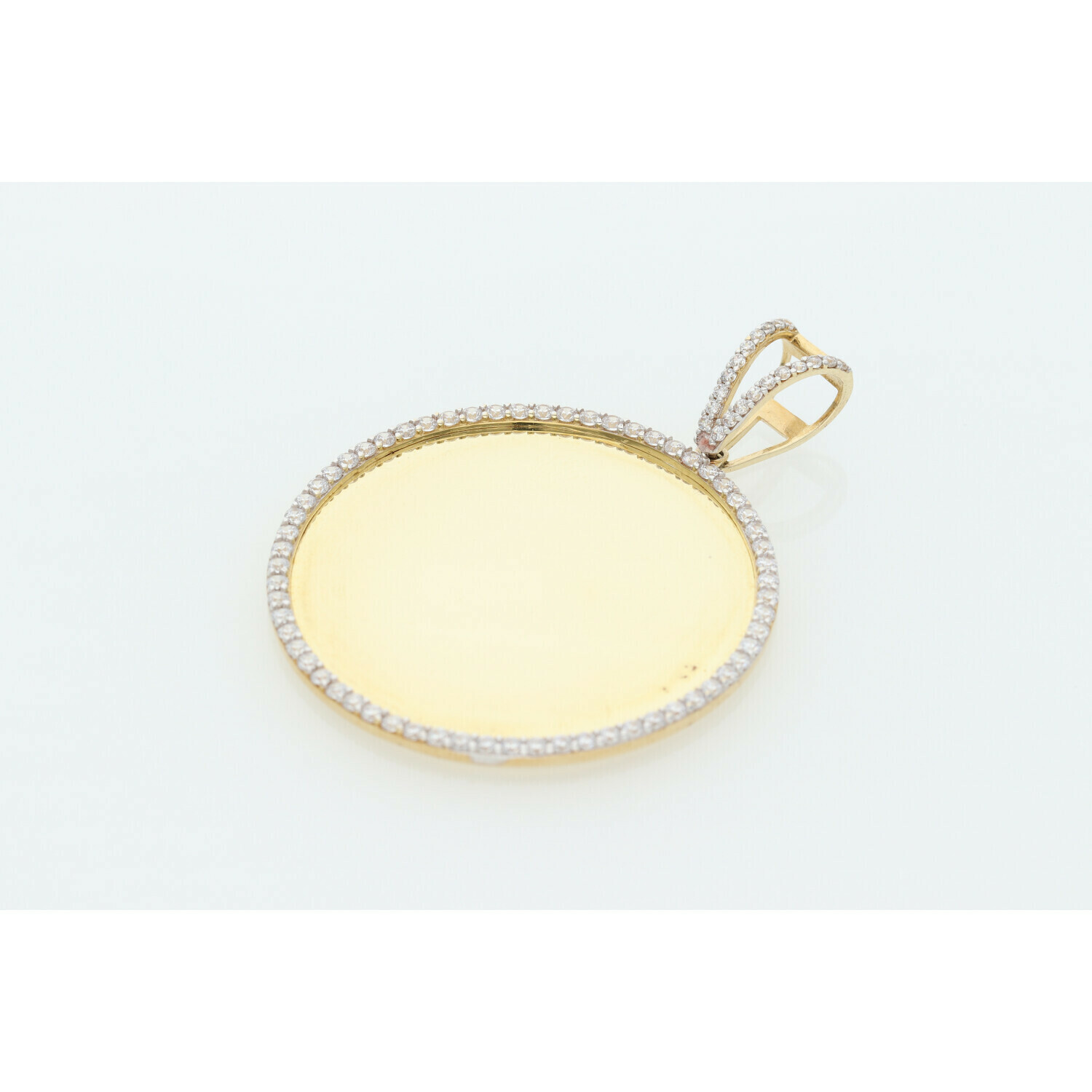 10 Karat Gold & Zirconium Photo Medal Charm
