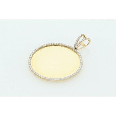 10 Karat Gold & Zirconium Photo Medal Charm