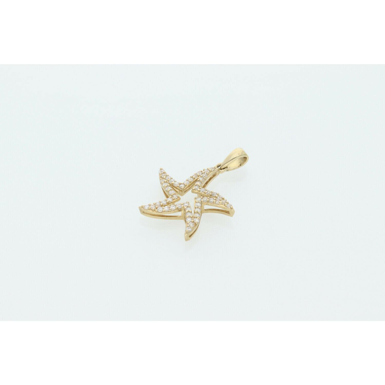10 Karat Gold & Cz Star #3 Charm W: 2.1g ~