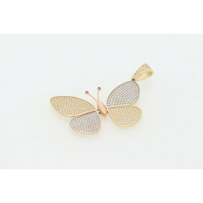 14 Karat Gold & Zirconium Three Tone Butterfly Charm