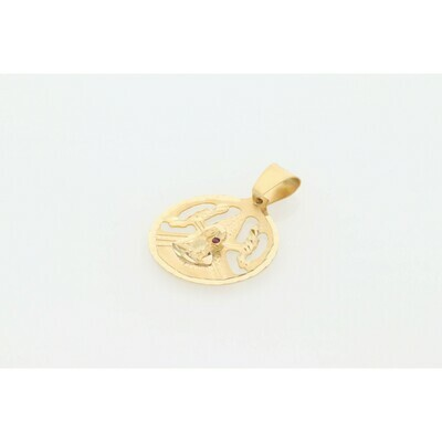 14 karat Gold & Zirconium St. Barbara Medal