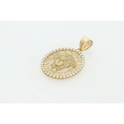 10 Karat Gold & Zirconium Medusa Medal Oval Charm