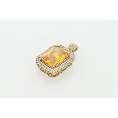 10 Karat Gold & Cz Yellow Square Charm W: 12.3 ~