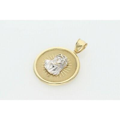 10 Karat Gold Two Tone Jesus Face Medal Charm