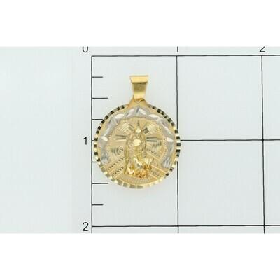 10 Karat Gold St. Lazarus Medal Charm W: 3.6 ~