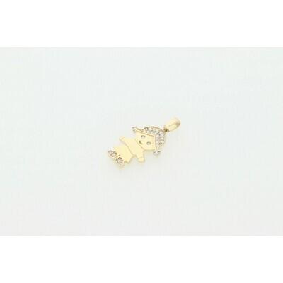 14 Karat Gold & Zirconium Girl Charm