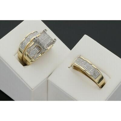 14 Karat Gold & 1.00 Ctw Diamond Fancy Wedding Trio Set Ring S: 7-10 W: 10.8 ~