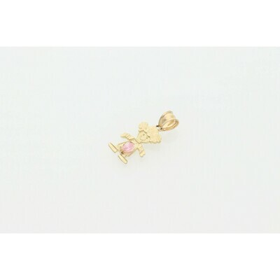 10 karat Gold & Zirconium Yellow Pink Children Shape Charm