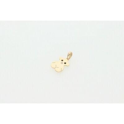 14 Karat Gold & Cz Fancy Teddy Bear Charm W: 1.2 ~