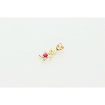 10 karat Gold & Zirconium Red Children Shape Charm