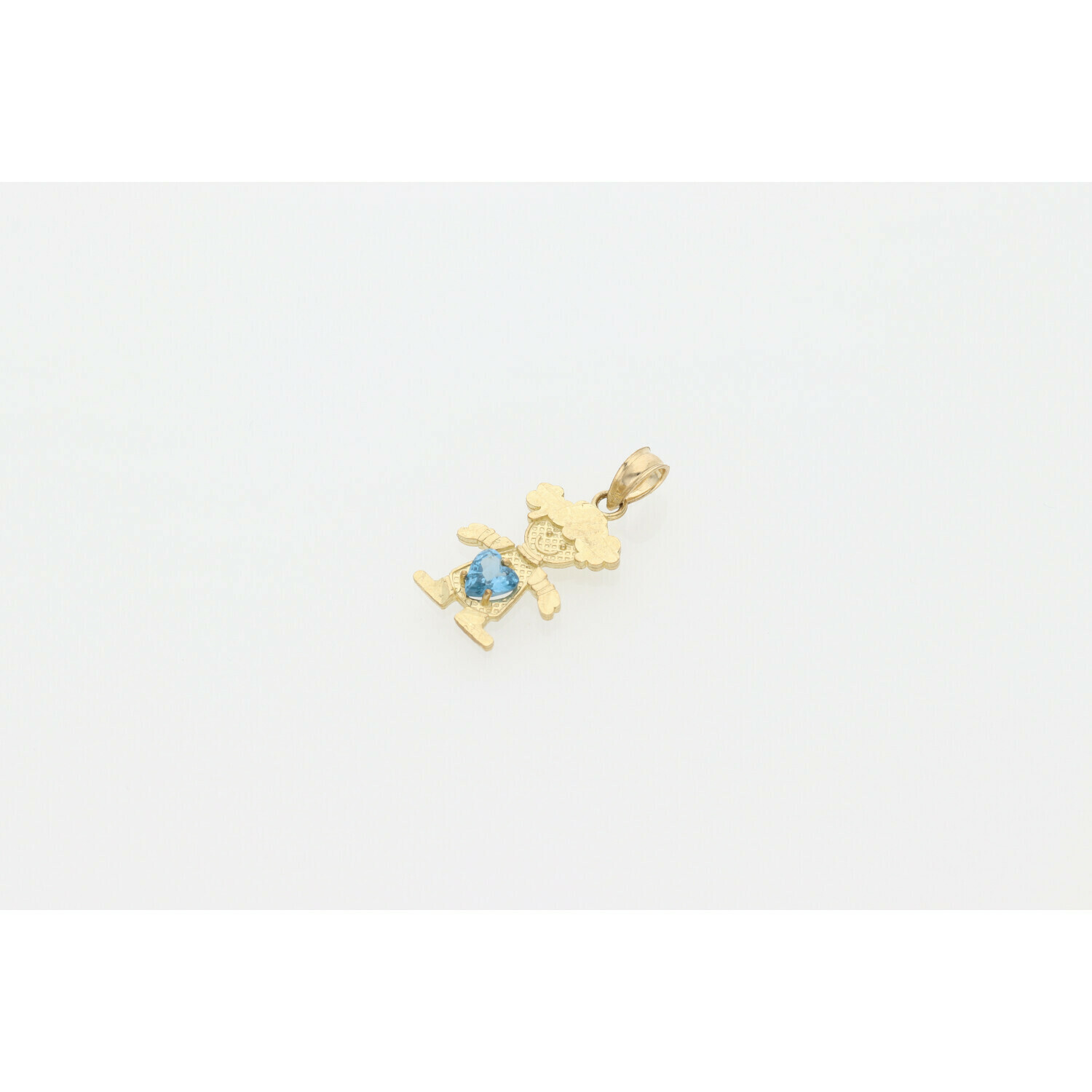 10 karat Gold & Cz Light Blue Children Shape Charm  W: 1.0g ~