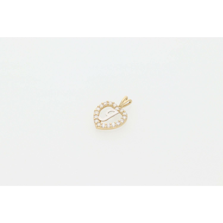 10 karat Gold & Zirconium Heart Letter J Charm
