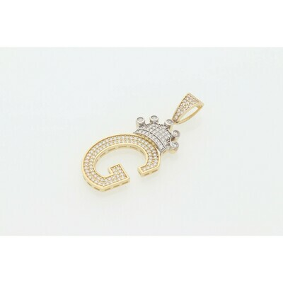 10 karat Gold & Zirconium Crown Letter