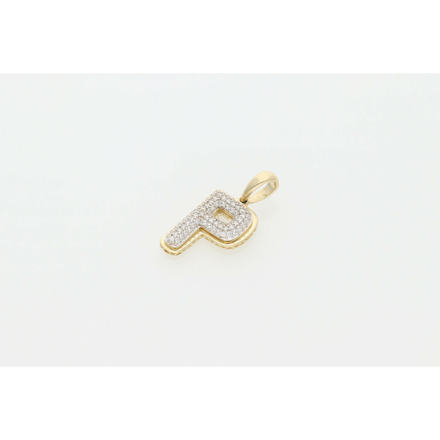 10 Karat Gold & Zirconium Letter Fancy Bubble