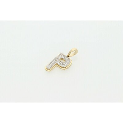 10 Karat Gold & Zirconium Letter Fancy Bubble