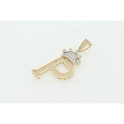 10 Karat Gold & Zirconium Two Tone Crown Letter