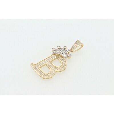 10 karat Gold & Zirconium Letter Crown