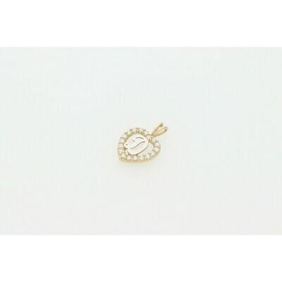 10 karat Gold & Zirconium Heart Letter