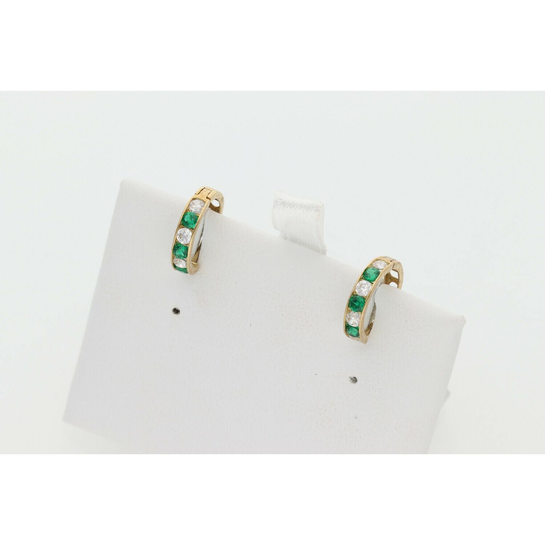 10 Karat Gold & Zirconium Green Small Hoops
