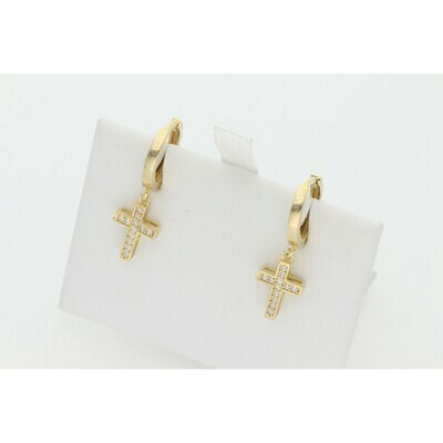 10 Karat Gold & Zirconium Huggie Cross Earring Hoops