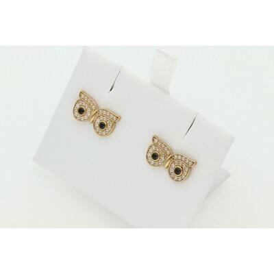 10 Karat Gold & Zirconium Owl Eyes Earring