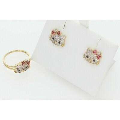 10 Karat Gold & Zirconium Kitty Set Ring + Earrings