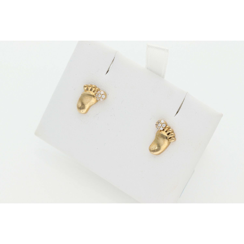 10 karat Gold & Zirconium Foot Print Earrings
