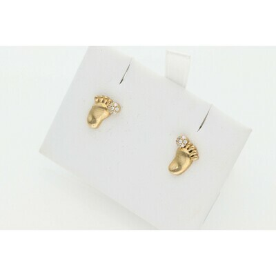 10 karat Gold & Zirconium Foot Print Earrings