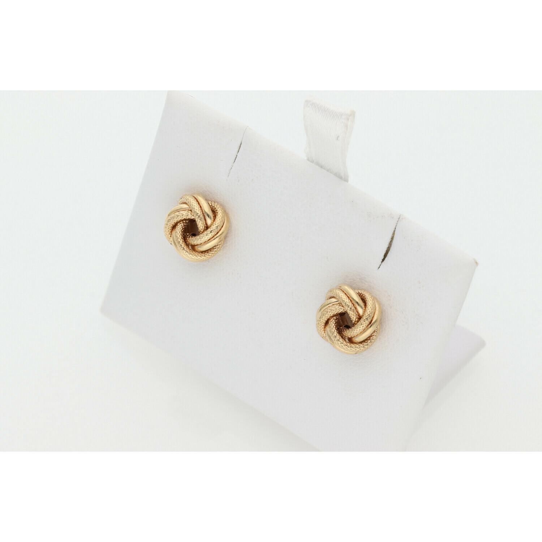 10 Karat Gold Textured Knot Earrings