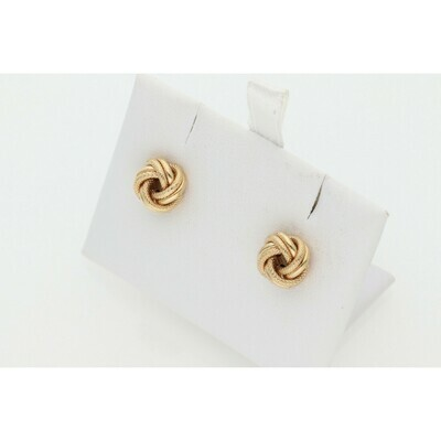 10 Karat Gold Textured Xs Knot Earrings W: 1.0 ~