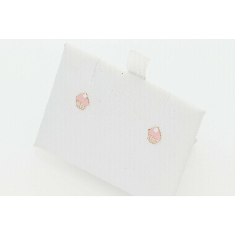 14 Karat Gold Fancy Baby Cupcake  Earrings