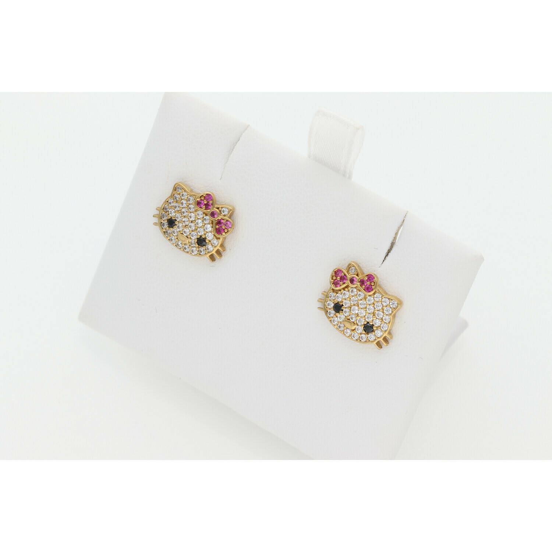 10 Karat Gold & Zirconium Kitty Earrings