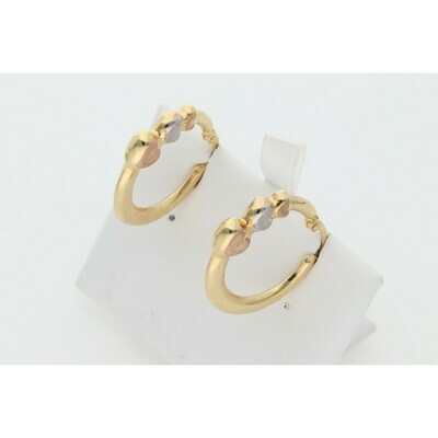 14 Karat Gold Three tone Heart Hoops Earrings