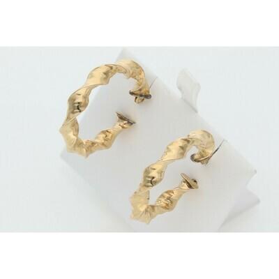 14 Karat Gold Fancy Hoops Earrings W: 3.3 ~