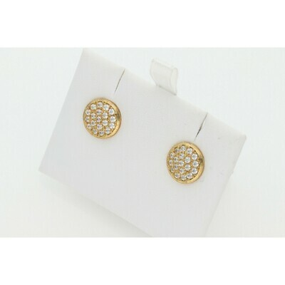 10 karat Gold & Zirconium Circle Earrings