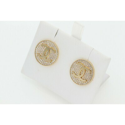 14 karat Gold & Zirconium Fancy CC Earrings