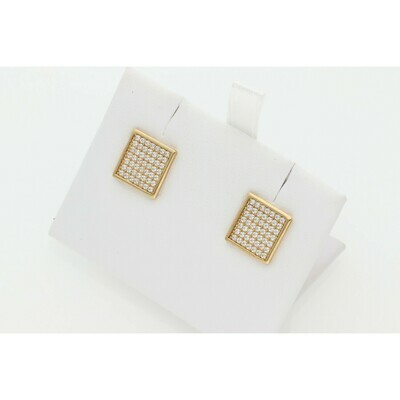 10 Karat & Zirconium Square Earrings