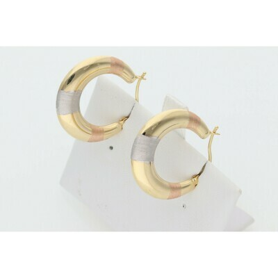 14 Karat Gold Three Tone Rhombus Hoops