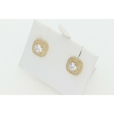 10 karat Gold & CZ Cir Earrings W: 3.6