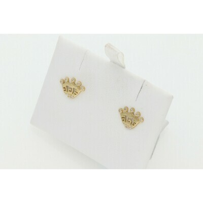 10 Karat Gold & Zirconium Maze Crown Earrings