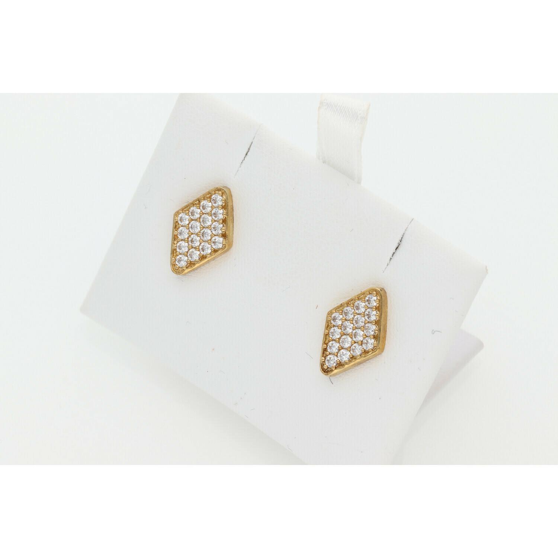 10 Karat Gold & Zirconium Rhombus Earrings
