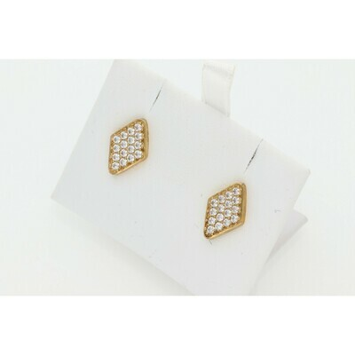 10 Karat Gold & Zirconium Rhombus Earrings