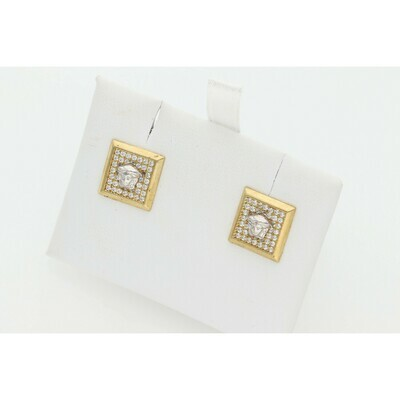 10 Karat Gold & Zirconium Medusa Square Earrings