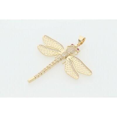 14 Karat Gold & Zirconium Flex Dragonfly Charm
