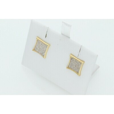 14 Karat Gold & Zirconium Square Earrings