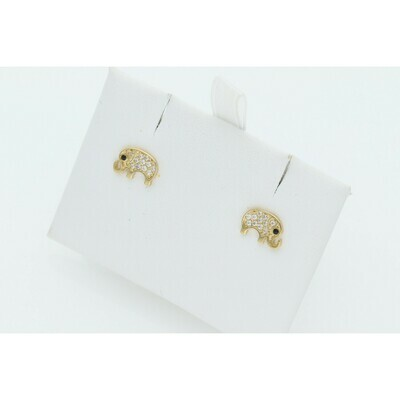10 Karat Gold & Cz Elephant Earrings W: 1.0 ~
